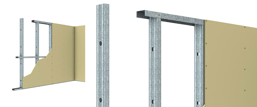Metal Stud Partition Walls : Steel stud track wall framing system